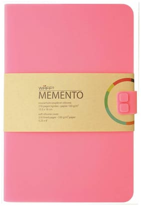 """WAFF, Soft Silicone Cover Memento Notebook / Journal, Large, 8.25"""" x 5.5""""  Pink"""