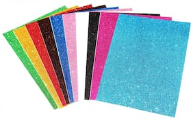 WAT BEYOND Self Adhesive Easy to Peel Off Glitter EVA Foam Sheets, A4 Size, Pack of 10 (Assorted Colors)
