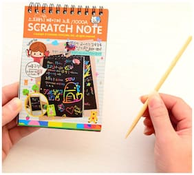 WAY BEYOND 10 pages Scraping paint Black cardboard Creative DIY draw sketch notes for kids