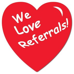 """We Love Referrals"" Heart Shape Stickers 1"" x 1"", Roll of 100 Seals"