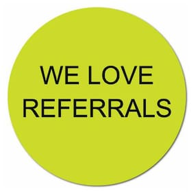 """We Love Referrals"" Stickers 1"" Dia. Circle, Roll of 50 Stickers"