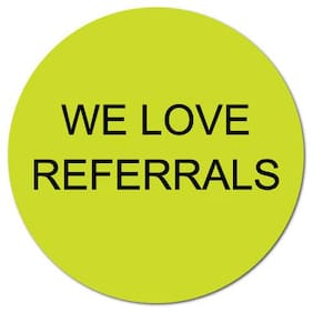 """We Love Referrals"" Stickers 1"" Dia. Circle, Roll of 500 Stickers"