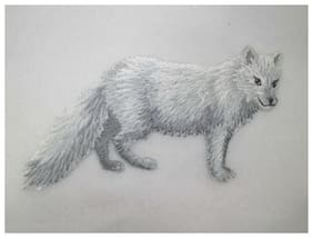 White Arctic Fox Embroidered Iron On Applique Patch