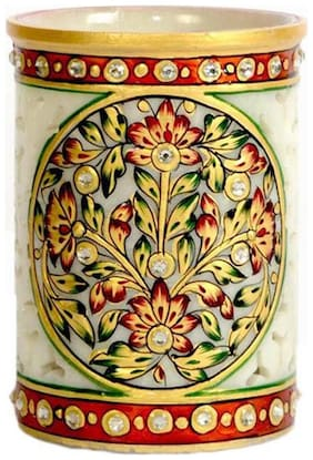 White Marble Flower Painted Pen Stand For Home And Office Use