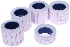 White Price Labels Paper Tag MRP Mark Sticker for MX-5500 Price Gun Labeller Pack of 10 Rolls 21mm-12mm
