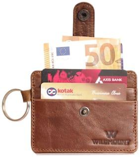 Wildmount Men Tan Genuine Leather Card Holder  (5 Card Slots)