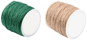 : Wonder Star 2mm Jute Twine String Rope Hemp Rope Jute Cord Total 50 Meter for DIY and Crafts, Gift Wrapping (2 Colors Combo Green & Natural) (25 Meter each color)