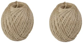 Wonder Star 2mm Jute Twine thread String Rope Hemp Rope Jute Cord for DIY and Crafts, Gift Wrapping (2 Pcs Combo Natural Color)