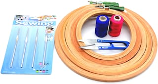 Wooden Hand Embroidery kit Embroidery Hoop  (Pack of 9)