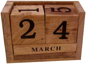 Wooden Never Ending Date Calendar for Office Desk