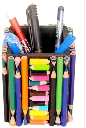 Ananada Collections Wooden Pen Stand Made Of 100 Natraj Color Pencils