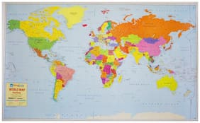 World Political Map on Art Paper (51.70x30.13) [Wall Chart] - 2017 Edition