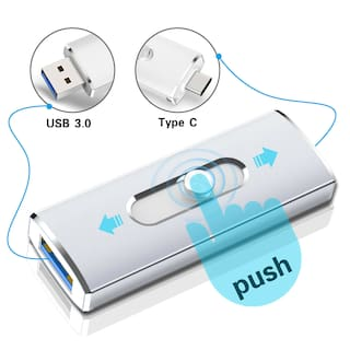 64GB Type C Flash Drive USB Dual 2 In 1 OTG USB 3.0 Memory Stick Thumb PenDrive