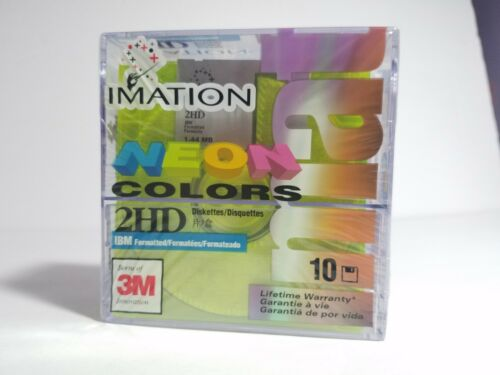 "Box of 10 Imation Diskettes 3.5/"" 1.44MB IBM formatted 2HD disks NEW//Sealed"