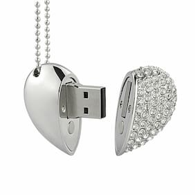 Crystal Heart Design 32GB USB2.0 Flash Drive Pen Thumb Drive Memory Stick U Disk