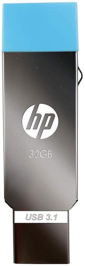 HP X302 32 GB USB 2.0 Pendrive ( Silver & Blue )