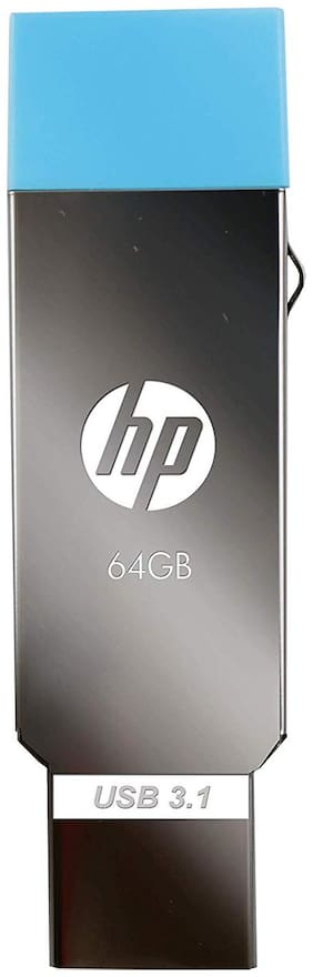 HP V302 64 GB USB 2.0 Pen Drive (Silver;Blue)