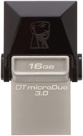 Kingston Data Traveler 3.0 MicroDuo USB 3.0 16   GB USB OTG Pen Drive  Black   Silver