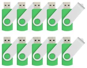 Kootion Green 10 Pcs16GB Rotating 2.0 USB Flash Drive Folding Memory Stick Pen