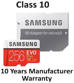 Samsung 256 GB evo plus 100 mbps MicroSDXC Memory Card Class 10 with (SD Adapter) (MB-MC256GA)