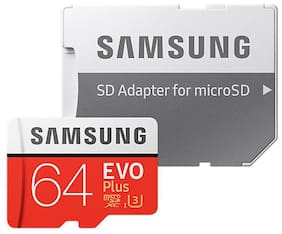 Samsung 64 GB evo plus 100 mbps MicroSDXC Memory Card Class 10 with (SD Adapter) (MB-MC64GA)
