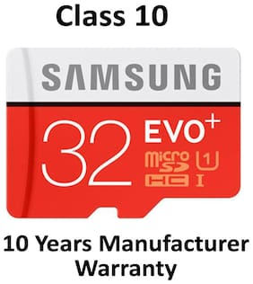 Samsung EVO Plus microSDHC UHS-I 32 GB Class 10 Memory Card With SD Adapter