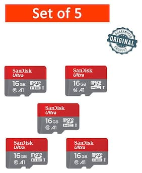 SanDisk 16GB Ultra microSDHC (microSD) Memory Card U1 98MB/s A1 (SDSQUAR-016G-GN6MN) - Pack of 5