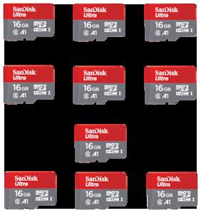 SanDisk 16GB Ultra microSDHC (microSD) Memory Card U1 98MB/s A1 (SDSQUAR-016G-GN6MN) - Pack of 10