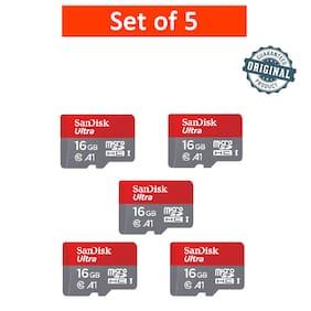 SanDisk 16GB Ultra microSDHC (microSD) Memory Card U1 98MB/s A1 (SDSQUAR-016G-GN6MN) - Pack of 5