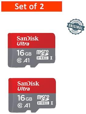 SanDisk 16GB Ultra microSDHC (microSD) Memory Card U1 98MB/s A1 (SDSQUAR-016G-GN6MN) - Pack of 2