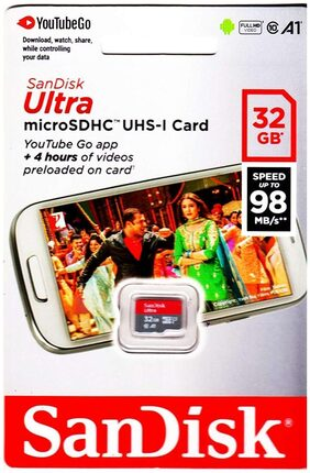Sandisk 32GB Class 10 Ultra MicroSD UHS-I A1 Card Pre loaded Youtube