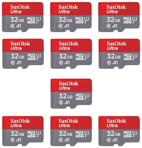 SanDisk 32GB Class 10 microSDXC Memory Card (SDSQUAR-032G-GN6MN) - Pack of 10