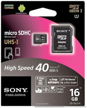 Sony microSD Card 16 GB Class 10 Memory Card With Adapter