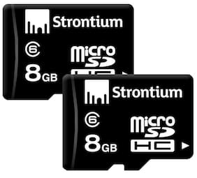 Strontium MicroSDHC 8 GB Class 6 Memory Card (Black) (Pack of 2)