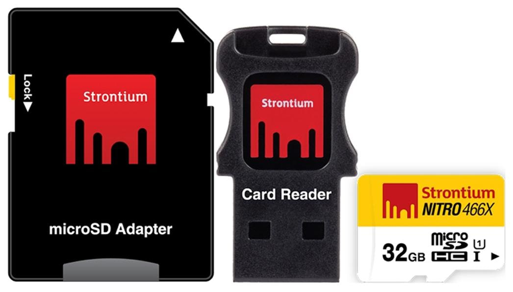 Strontium Nitro 466x microSDHC UHS-I 32 GB Class 10/U1 Memory Card With Adapter & Card Reader