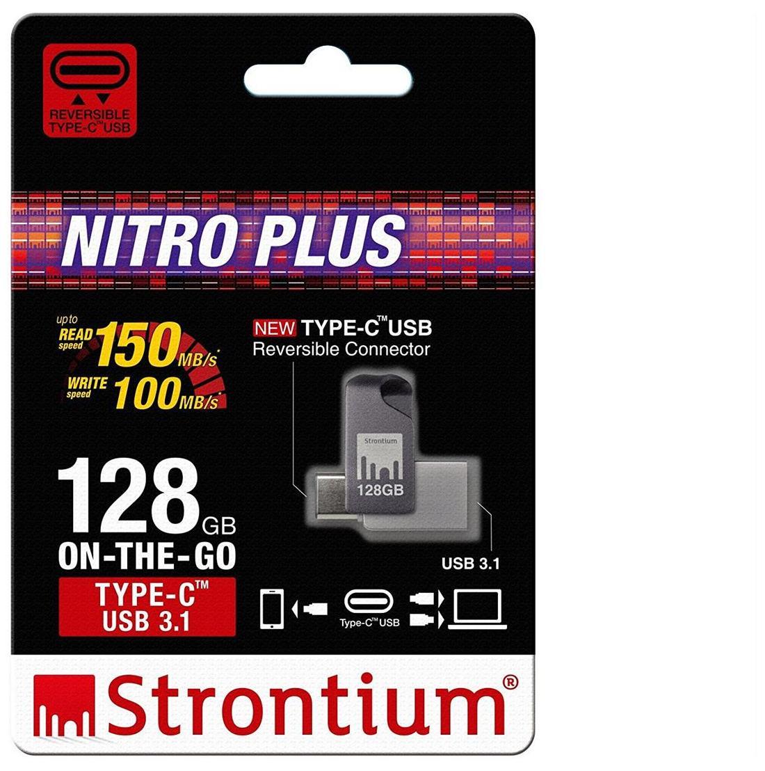 Strontium Nitro Plus USB 3.0 128GB Pen Drive (Silver & Black)