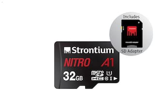 Strontium Nitro A1 32GB Micro SDXC Memory Card 100MB/s A1 UHS-I U3 Class 10 with High Speed Adapter for Smartphones Tablets Drones Action Cams (SRN32GTFU1A1A)