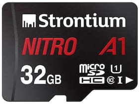 Strontium Nitro A1 32GB Micro SDHC Memory Card 100MB/s A1 UHS-I U1 Class 10 with High Speed Adapter for Smartphones Tablets Drones Action Cams (SRN32GTFU1A1A)