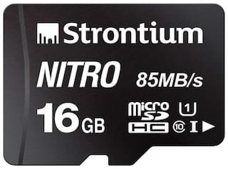 Strontium Nitro 16GB Micro SDHC Memory Card 85MB/s UHS-I U1 Class 10 High Speed for Smartphones Tablets Drones Action Cams (SRN16GTFU1QR)