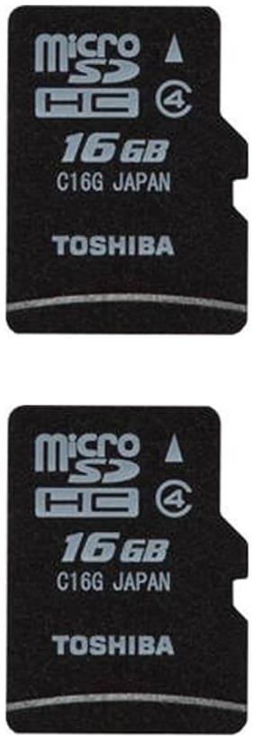 Toshiba 16 GB MicroSDHC Class 4 Memory Card (Pack of 2)