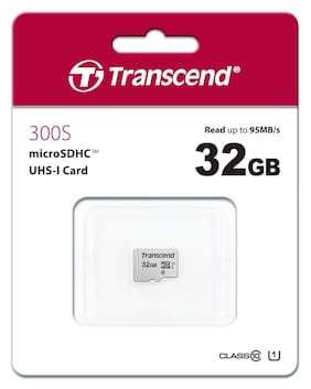 Transcend 32GB MicroSDHC 300s Class 10 UHS-1 Memory Card up to 95MB