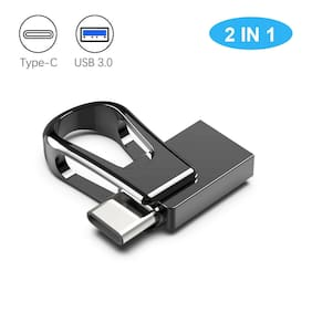 USB 3.0 64GB  Waterproof  Mini  2 In 1 Dual OTG Type C Flash Drive For Phone PC