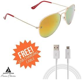 Adam Jones RAFA Premium Red Mercury Aviator Unisex Sunglasses for Men and > Women (Rose Gold Colour Metal Frame + Mercury Lens)