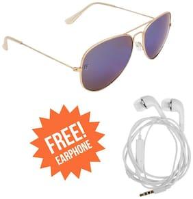 Adam Jones RAFA Premium Blue Mercury Aviator Unisex Sunglasses for Men and Women (Rose Gold Colour Metal Frame + Mercury Lens) + Free Earphone