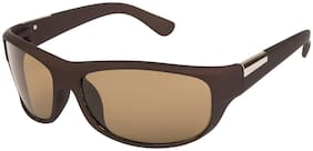 Arzonai Men's UV-400 Protected Sunglasses Hector Sports Wrap Matte Brown;64mm (Brown Lens) (MA-905-S4)