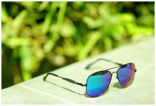 5f3b2db6ff Buy Blue Shaded Aviator Sunglasses Black Frame Goggles For Men ...