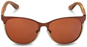 Caprio Brown Metallic Rim Oval Sunglasses for Women
