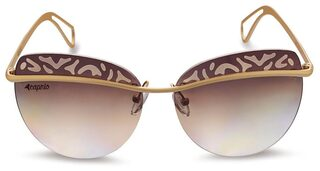 Caprio Brown & Gold-Toned Graduated Rimless Oval Sunglasses for Women
