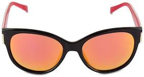 Caprio Orange & Black Mirrored Unisex Round Sunglasses