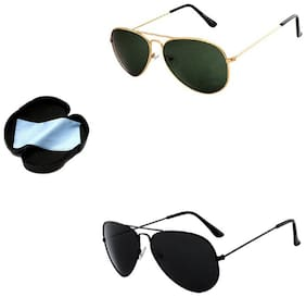 Combo Of Lee Topper Stylish UV Protected Light wight Metal Aviator Unisex Sunglasses